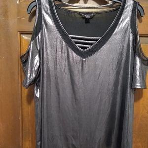 Rock & Republic metallic open shoulder top.